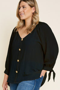 Esme Button Down Tie-Sleeve Blouse