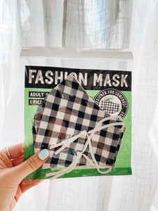 Adult Face Masks - Plaid w/ Ties