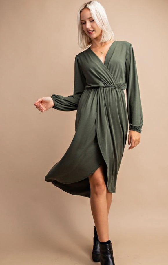 Saylor Surplice Midi Dress - More Colors