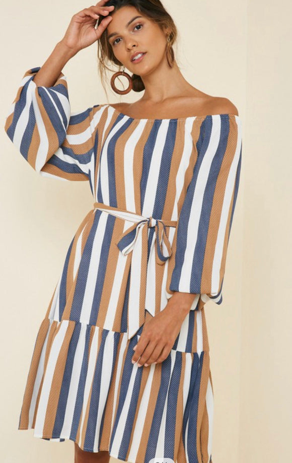 Michelle Striped Tie Waist Dress