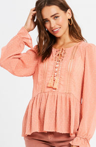 Ashton Textured Peplum Blouse - More Colors