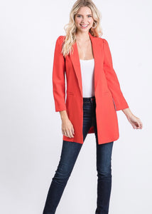 Mallory Long-line Open Front Blazer
