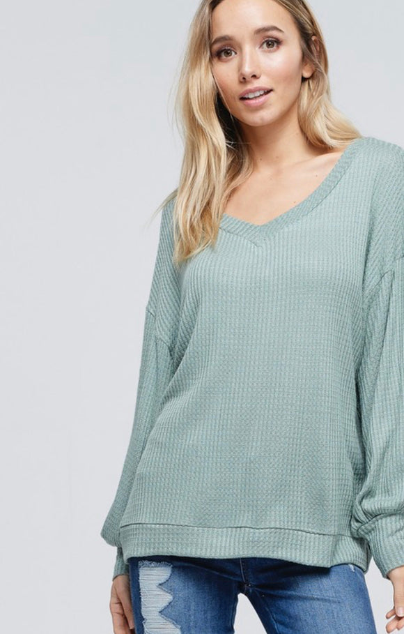 Mandy Balloon Sleeve Waffle Knit Top