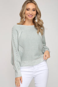 Kari Dolman Sleeve Contrast Sweater - More Colors