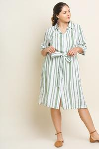 Ginger Button Up Midi Dress - Plus Size