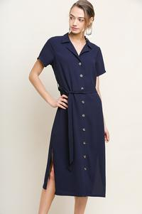 Chelsea Button Front Midi Dress