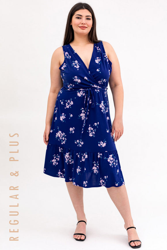 London Faux Wrap Midi Dress- Plus Size