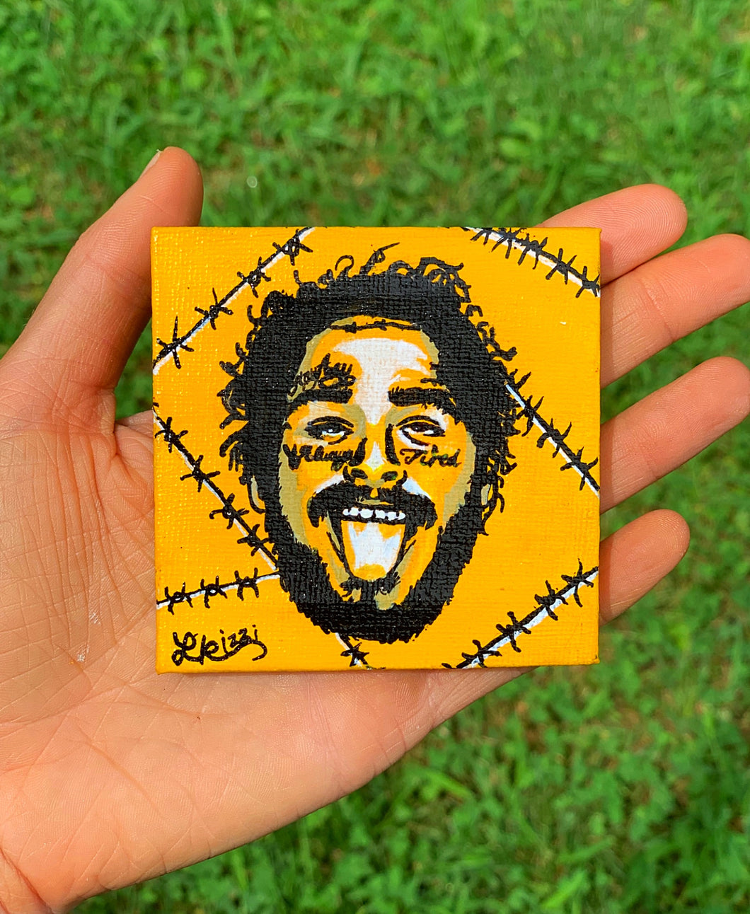POST MALONE MINI HAND PAINTED CANVAS