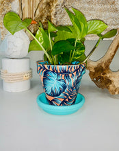 "Load image into Gallery viewer, 4"" MEDIUM - CORAL & AQUA TROPICAL PLANTER & SAUCER"