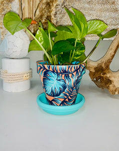 "4"" MEDIUM - CORAL & AQUA TROPICAL PLANTER & SAUCER"
