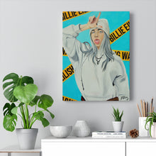 "Load image into Gallery viewer, ""WARNING! BILLIE EILISH"" CANVAS PRINT"