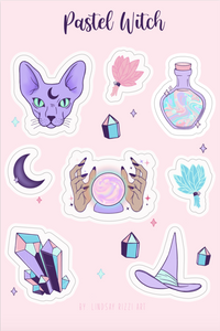 """PASTEL WITCH"" STICKER SHEET"