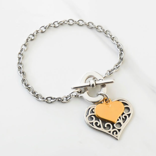 Filigree heart charm bracelet, silver and yellow gold - Orli Jewellery