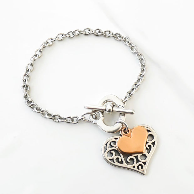 Filigree heart charm bracelet, silver and rose gold - Orli Jewellery