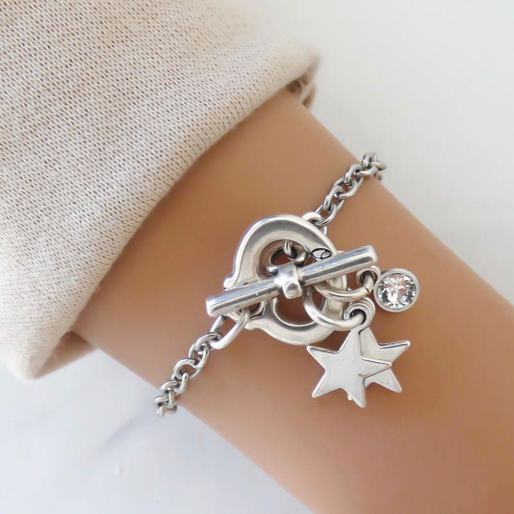 Stars and crystal charm bracelet