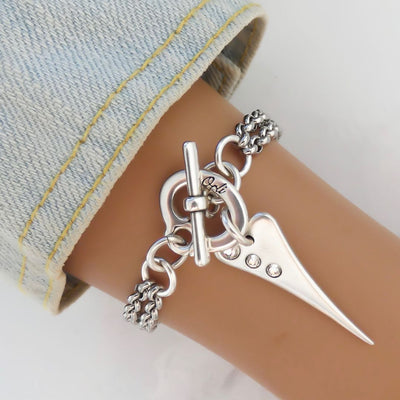 Double chain mini pointed crystal heart bracelet - Orli Jewellery