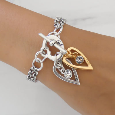 Twin open hearts and Swarovski crystals bracelet, silver and yellow gold