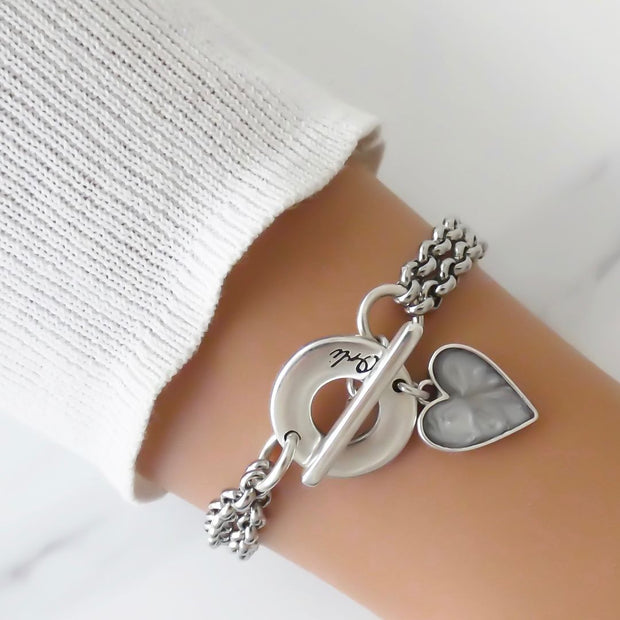 Double chain marble heart bracelet