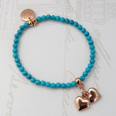 Turquoise and rose gold hearts bracelet - Orli Jewellery