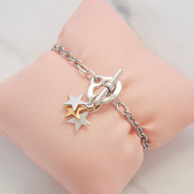 Triple stars charm bracelet, silver and rose gold