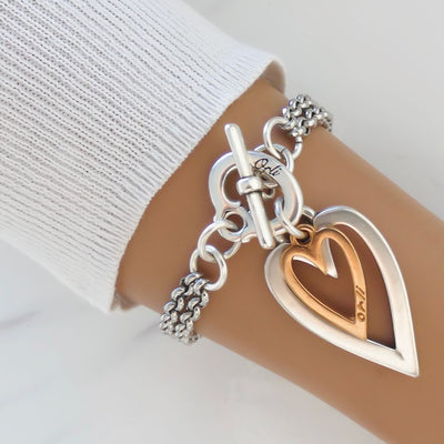Open heart and mini heart fine double chain bracelet, silver and rose gold