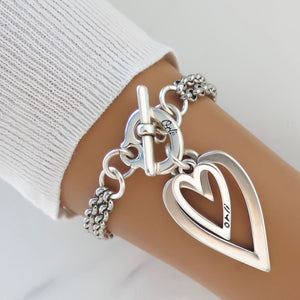 Open heart and mini heart chunky double chain bracelet, all silver