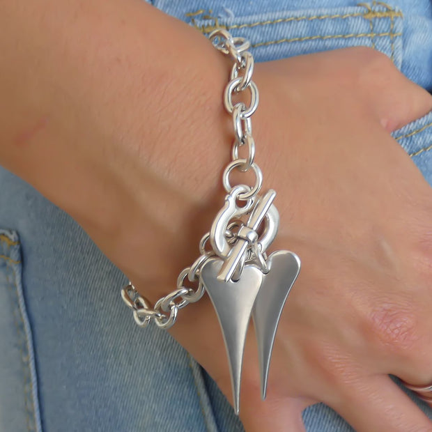 Chunky twin pointed hearts bracelet, all silver - Orli Jewellery