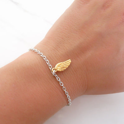 With Love bracelet - Angel wing, silver and yellow gold