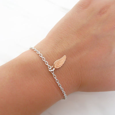 With Love bracelet - Angel wing, silver and rose gold