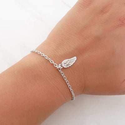 With Love bracelet - Angel wing, silver
