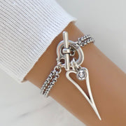 Open pointed heart and crystal double chain bracelet