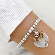 Heart and bow beads bracelet - Orli Jewellery