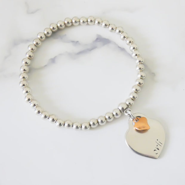 Orli heart and mini heart beads bracelet, silver and rose gold