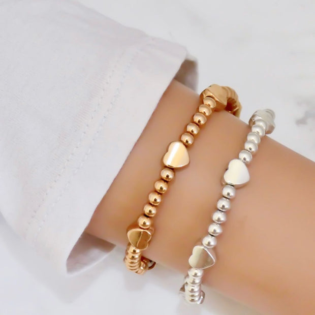 Beads and glider hearts bracelet - Orli Jewellery