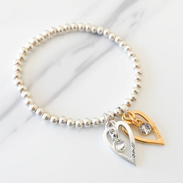 Twin mini open hearts and crystals beads bracelet, silver and yellow gold