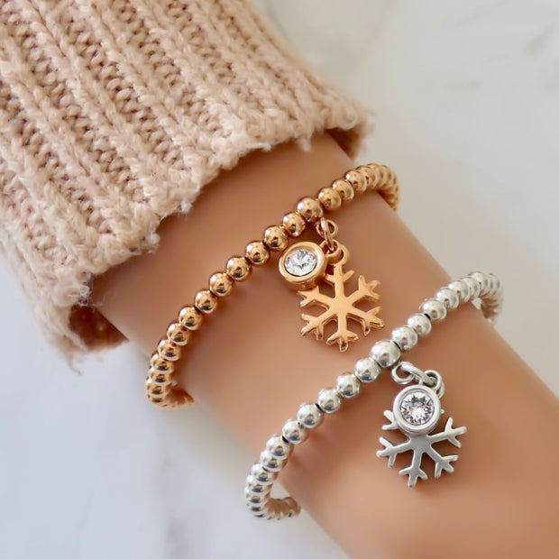 Snowflake and crystal beads bracelet