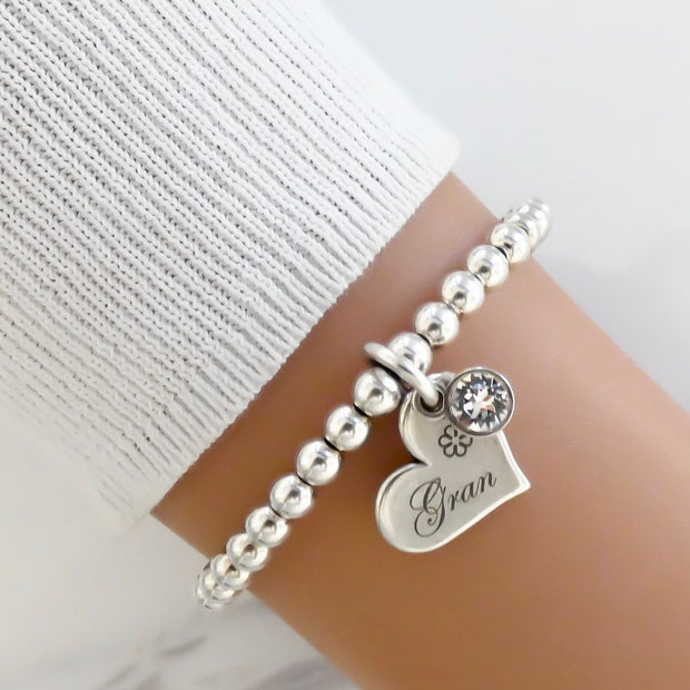 Gran charm and crystal beads bracelet