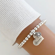 Grandma charm and crystal beads bracelet