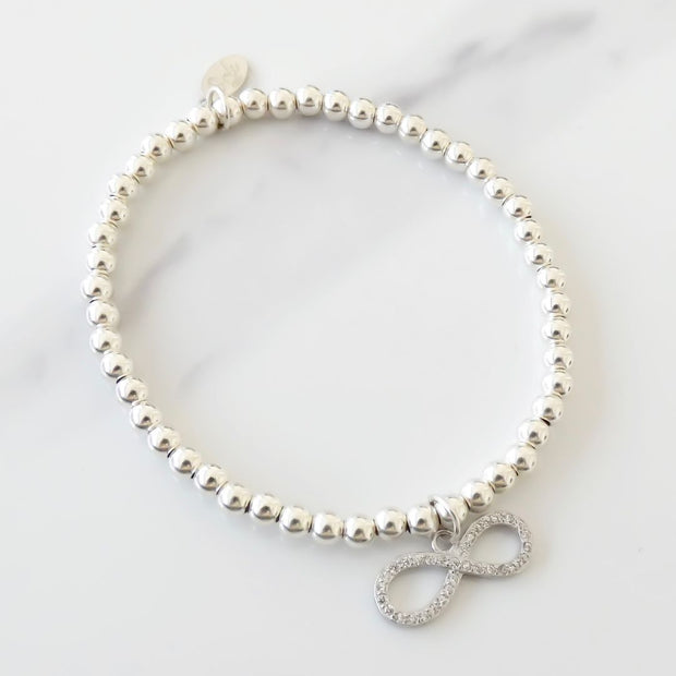 Sterling silver beads bracelet with crystal infinity charm