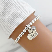 Sister charm and crystal beads bracelet