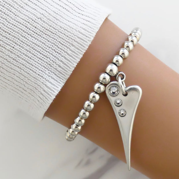 Pointed crystal heart beads bracelet, silver