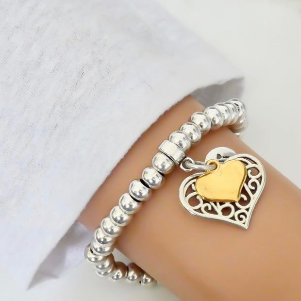 Filigree and mini heart chunky beads bracelet, silver and gold - Orli Jewellery