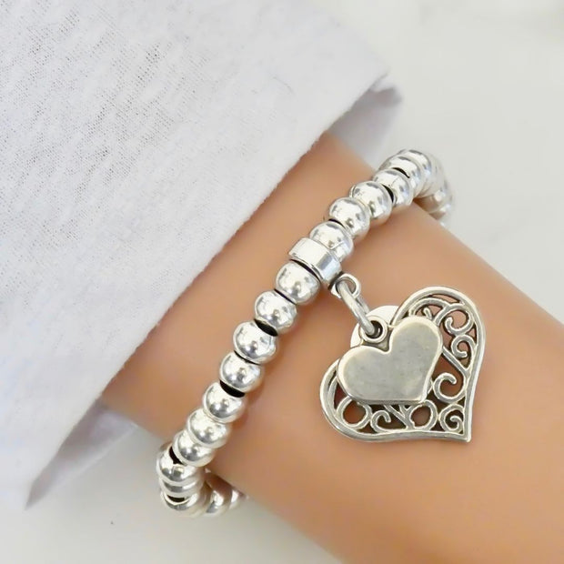 Filigree and mini heart chunky beads bracelet, all silver - Orli Jewellery