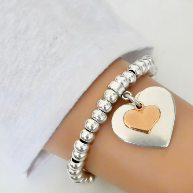 Smooth and mini heart chunky beads bracelet, silver and rose gold