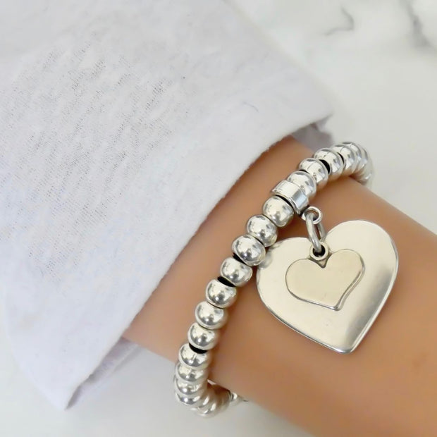 Smooth and mini heart chunky beads bracelet, all silver