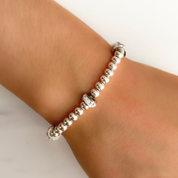 Silver beaded open heart bracelet