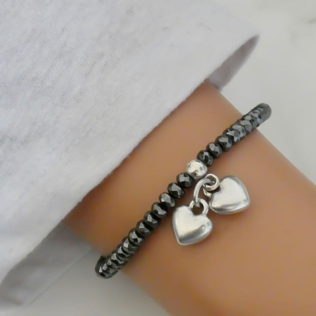 Hematite and silver hearts bracelet - Orli Jewellery