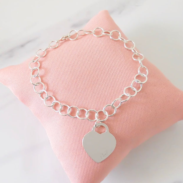 Sterling silver circle chain bracelet with classic Orli heart