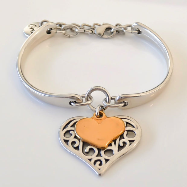 Filigree and mini heart brangle, silver and rose gold - Orli Jewellery