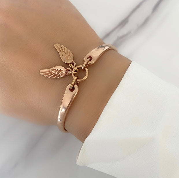 Twin angel wings brangle, rose gold